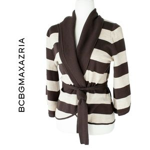 BCBGMaxAzria Merino Wool Brown Stripe Cardigan